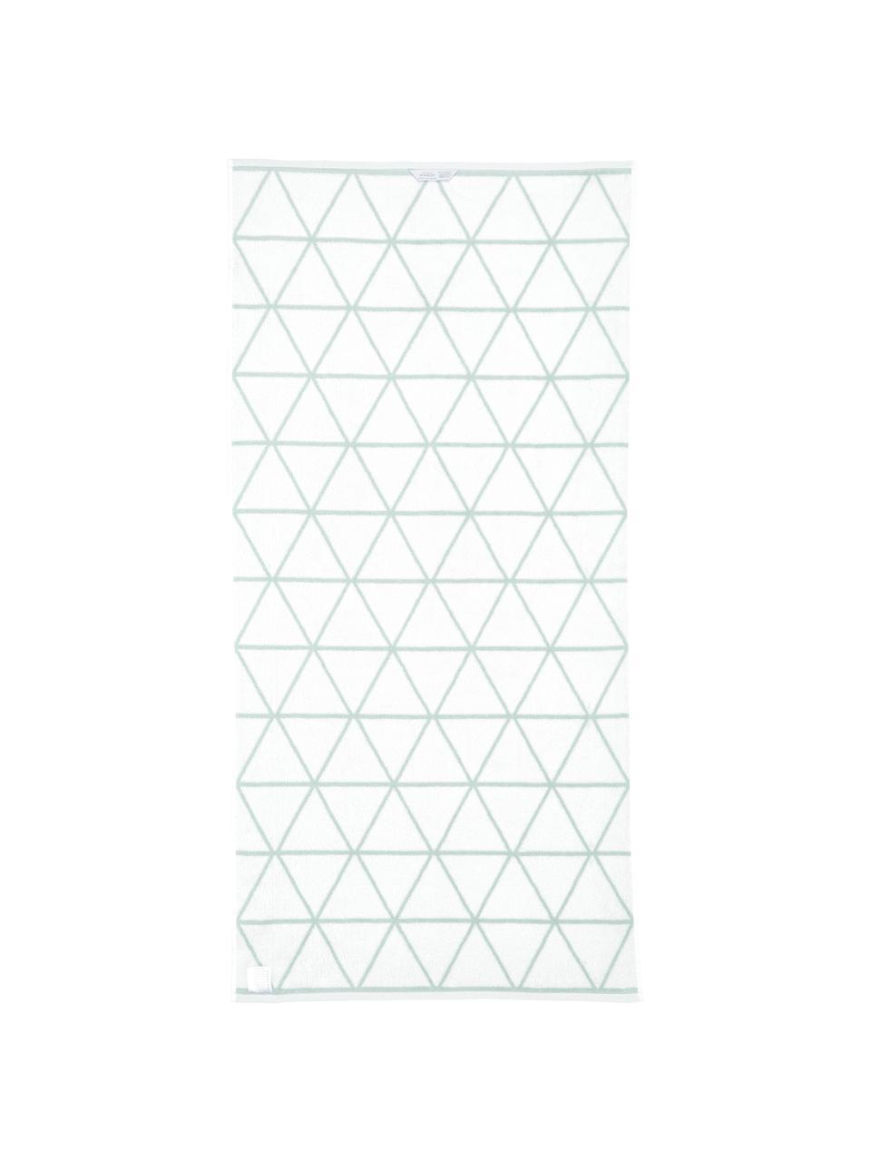 Wende-Handtuch-Set Elina mit grafischem Muster, 3-tlg., Mintgrün, Cremeweiß, Sondergrößen