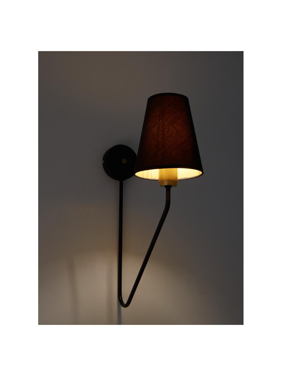 Lampada da parete di design Victoria, Paralume: miscela di cotone, materi, Nero, dorato, Larg. 15 x Alt. 50 cm