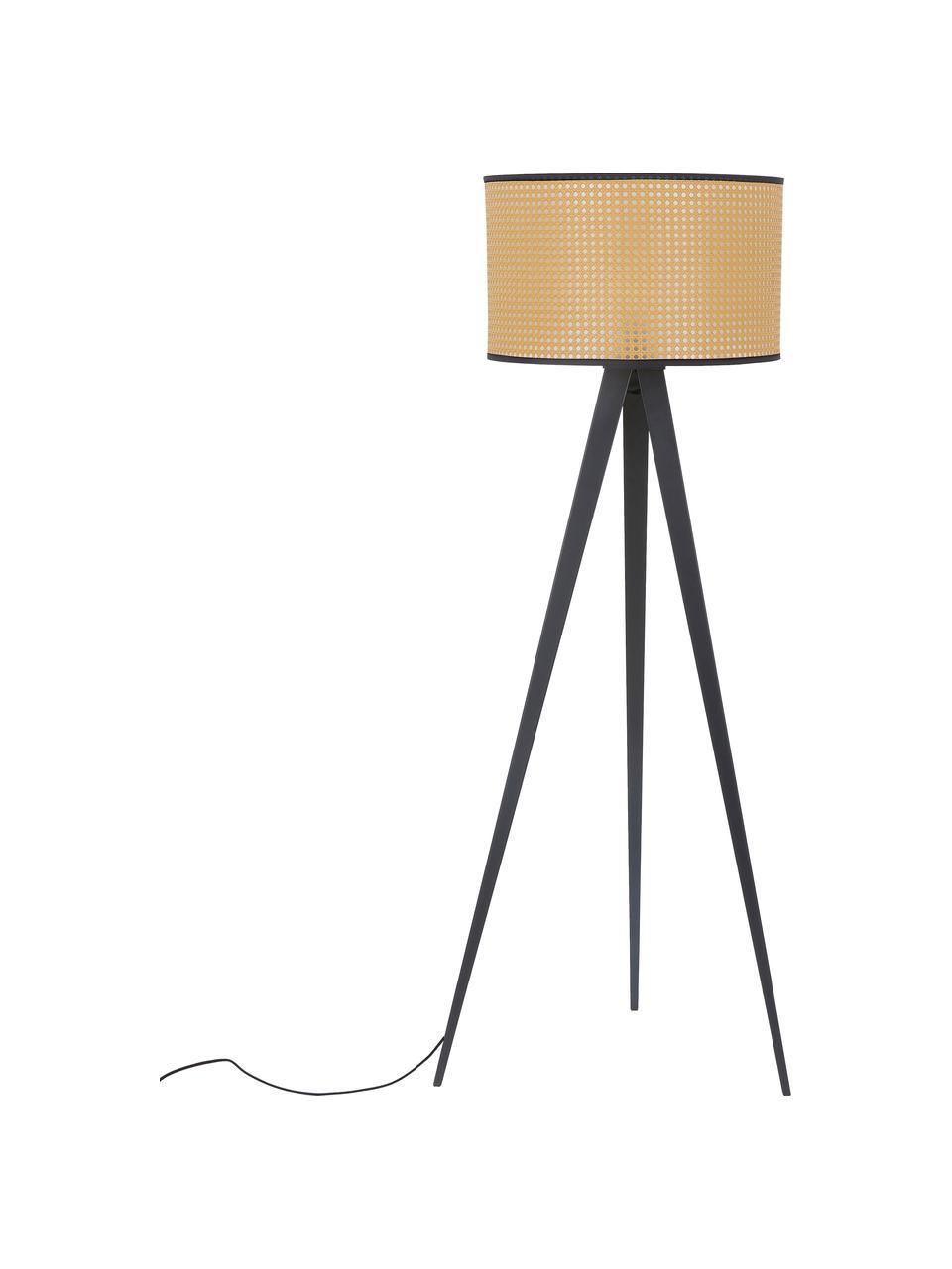 Lampa podłogowa trójnóg z plecionki wiedeńskiej Vienna, Klosz: beżowy, czarny Podstawa lampy: czarny, matowy Kabel: czarny, Ø  50 x W 154 cm