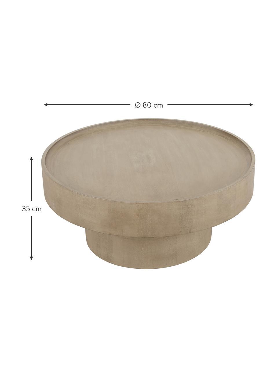 Salontafel Benno van mangohout in lichtbruin, Massief gelakt essenhout, Lichtbruin, Ø 80 x H 35 cm