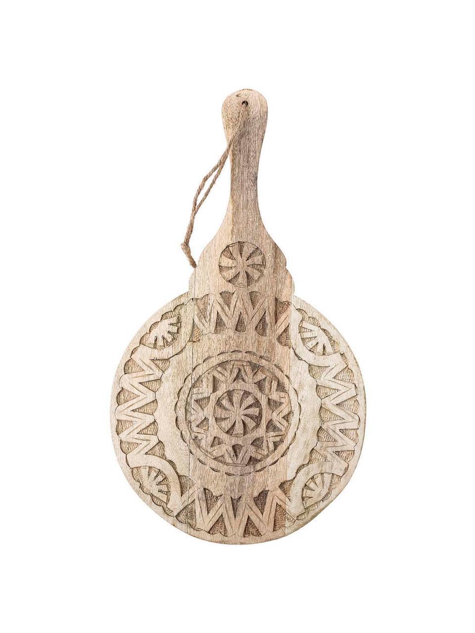 Ronde serveerplateau Manu van mangohout met snijwerk, Ø 28 cm, Mangohout, Beige, 28 x 49 cm