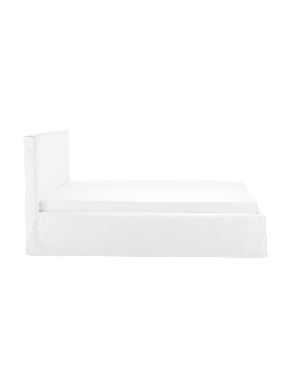 Letto imbottito in tessuto bianco-crema con contenitore Feather, Rivestimento: poliestere (tessuto strut, Bianco crema, 180 x 200 cm