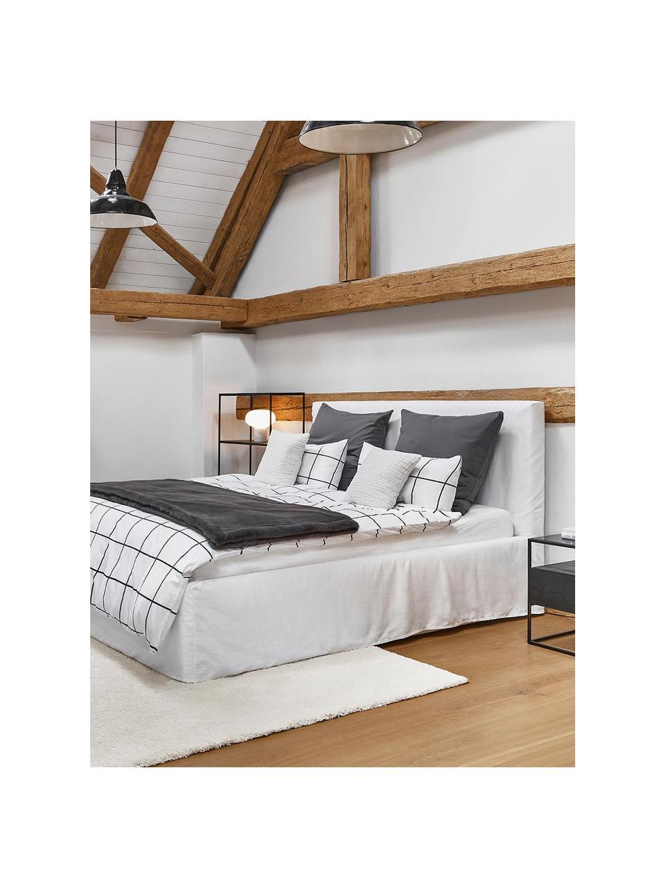 Łóżko tapicerowane z miejscem do przechowywania Feather, Korpus: lite drewno sosnowe i pły, Tapicerka: poliester (tkanina strukt, Kremowobiały, S 180 x D 200 cm