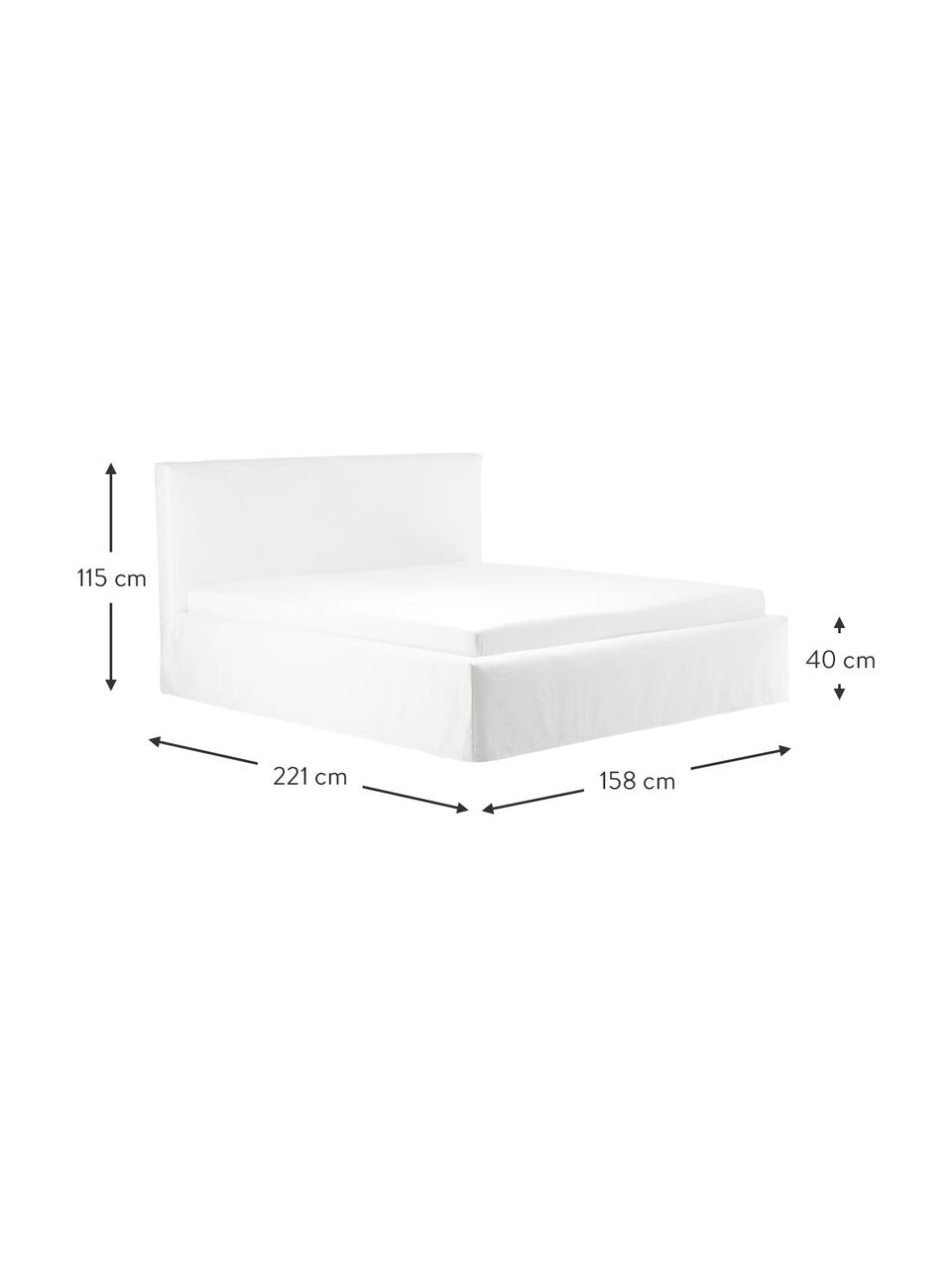 Gestoffeerd bed Feather met opbergruimte in crèmewit, Frame: massief grenenhout en pla, Bekleding: polyester (gestructureerd, Geweven stof crèmewit, 180 x 200 cm