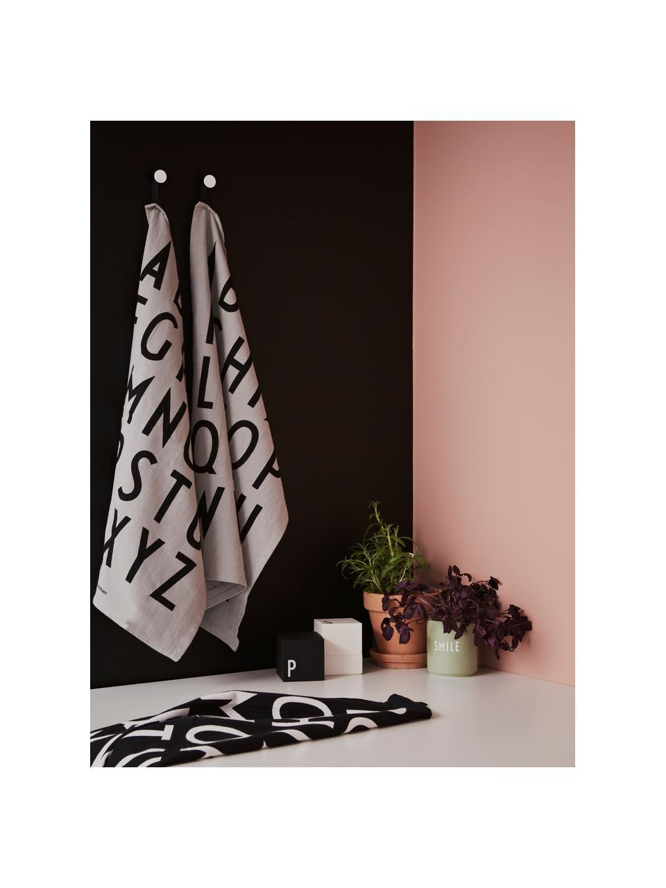 Ręcznik kuchenny z bawełny Classic, 2 szt., Bawełna, Czarny, S 40 x D 60 cm