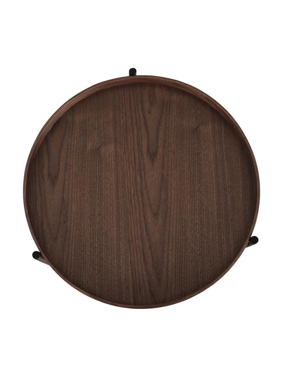 Holz-Beistelltisch Renee mit Walnussholzfurnier, Gestell: Metall, pulverbeschichtet, Walnussholz, Ø 44 x H 49 cm