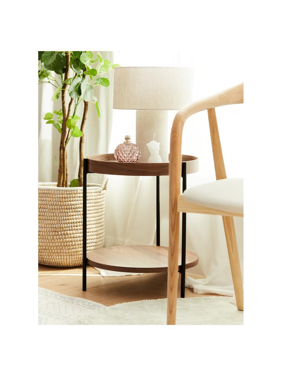 Tavolino rotondo con piano d'appoggio Renee, Ripiani: pannello di fibra a media, Struttura: metallo verniciato a polv, Legno di noce, Ø 44 x Alt. 49 cm