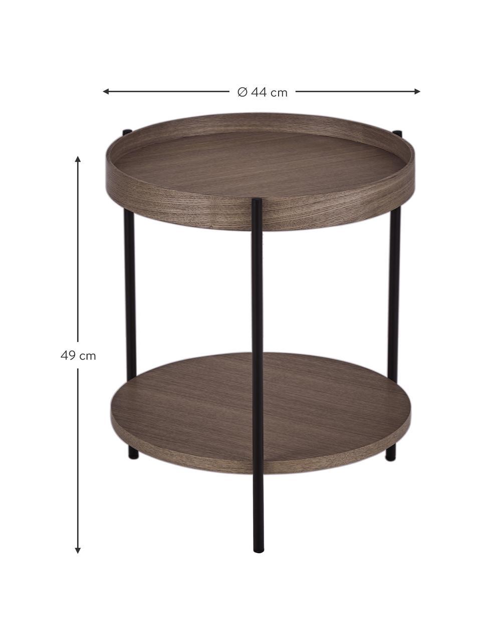 Stolik pomocniczy z drewna Renee, Stelaż: metal malowany proszkowo, Drewno orzechowe, Ø 44 x W 49 cm
