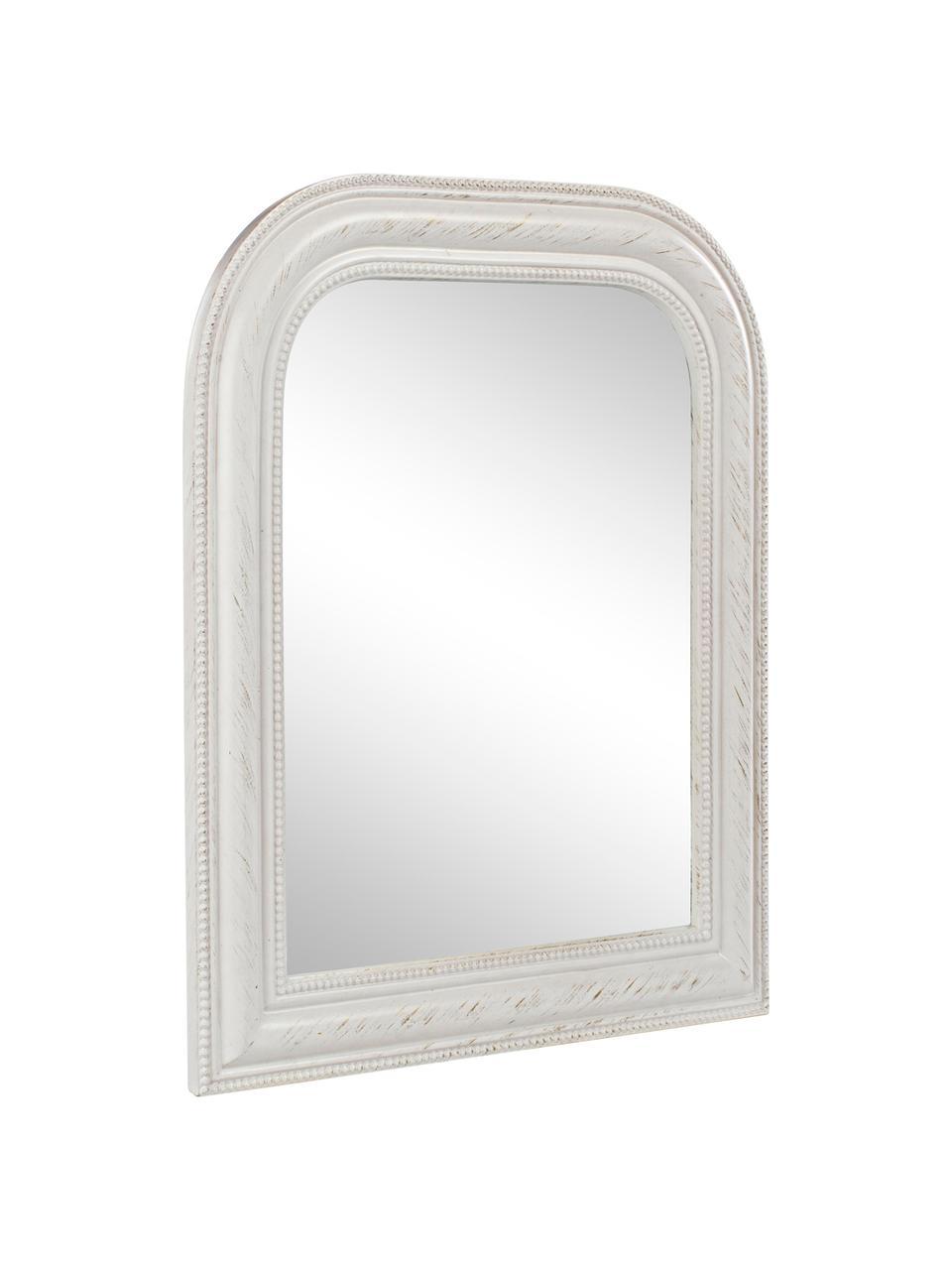 Wandspiegel Miro mit weißem Holzrahmen, Rahmen: Holz, beschichtet, Spiegelfläche: Spiegelglas, Weiß, 50 x 60 cm