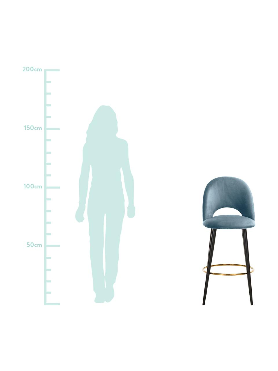 Samt-Barstuhl Rachel, Bezug: Samt (Polyester) 50.000 S, Beine: Metall, pulverbeschichtet, Samt Hellblau, 48 x 110 cm