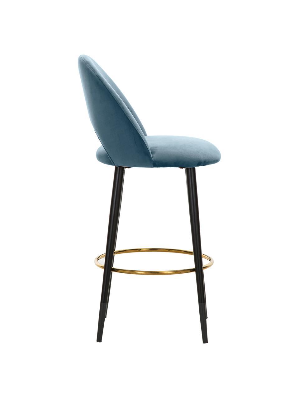 Chaise de bar velours Rachel, Velours bleu ciel