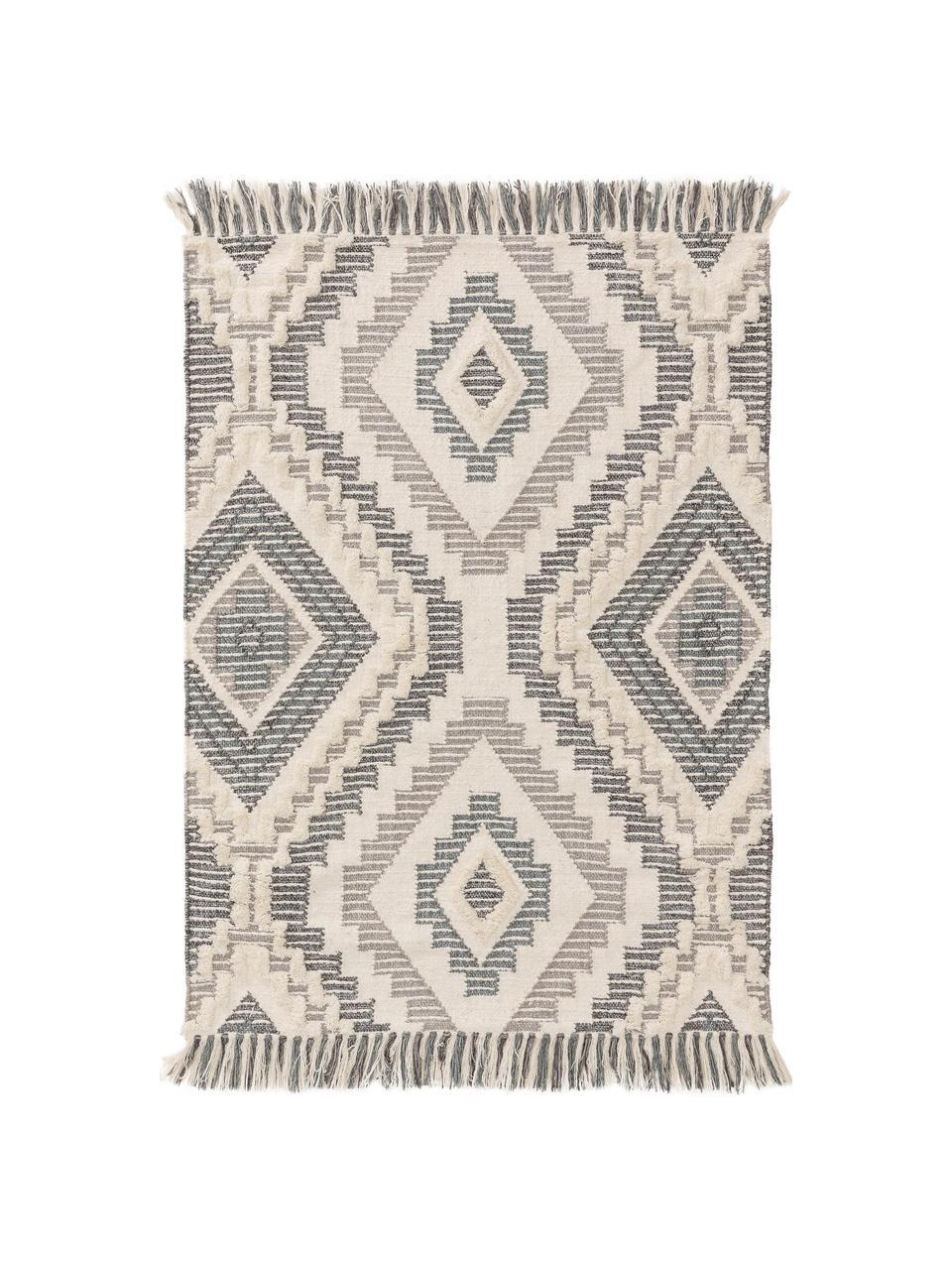 Dywan w stylu boho z wełny z frędzlami Wanda, 70% wełna, 30% akryl Włókna dywanów wełnianych mogą nieznacznie rozluźniać się w pierwszych tygodniach użytkowania, co ustępuje po pewnym czasie, Ciemny szary, szary, kremowy, S 160 x D 230 cm (Rozmiar M)
