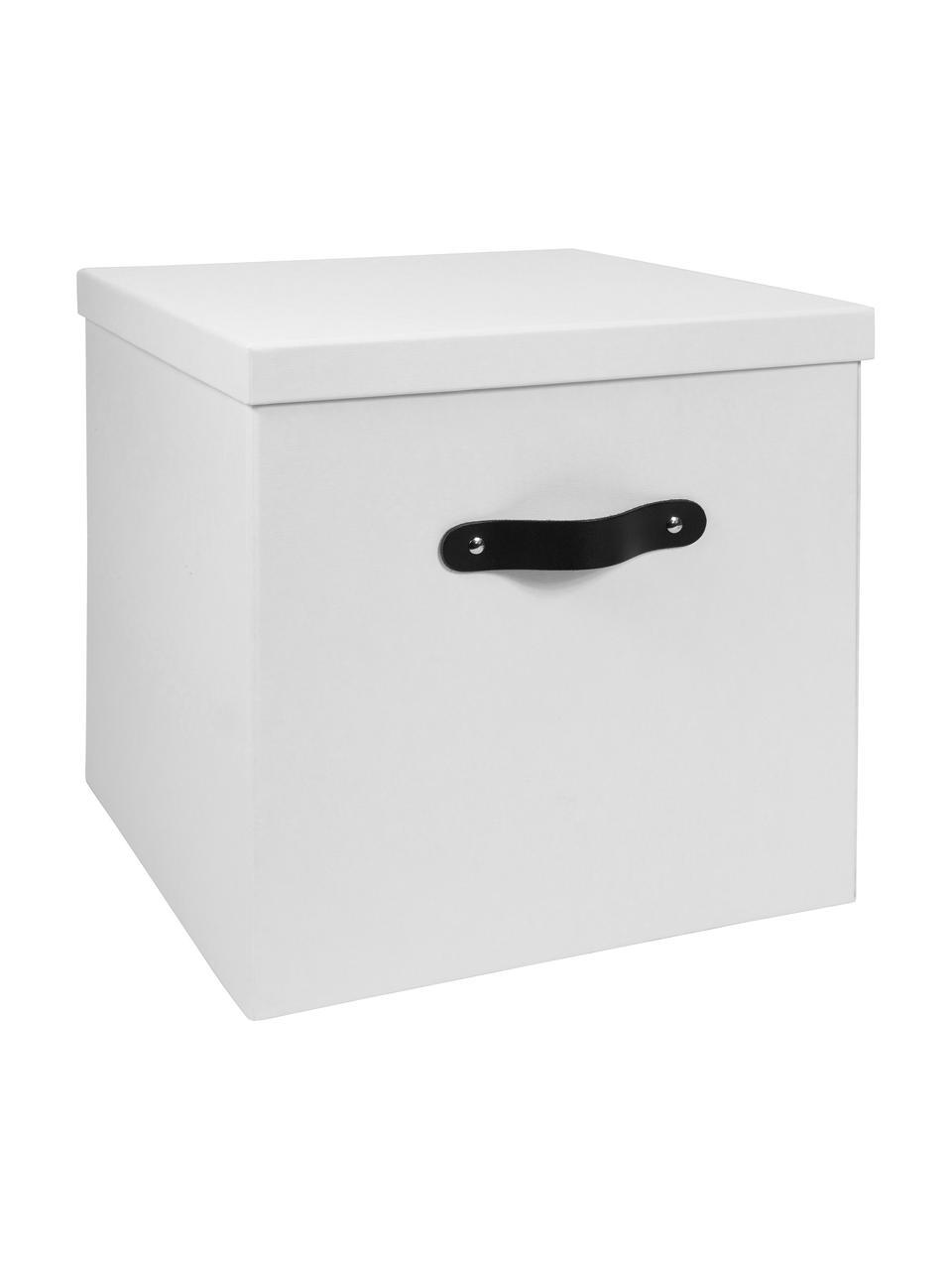 Aufbewahrungsbox Texas, Box: Fester, laminierter Karto, Griff: Leder, Weiß, 32 x 32 cm