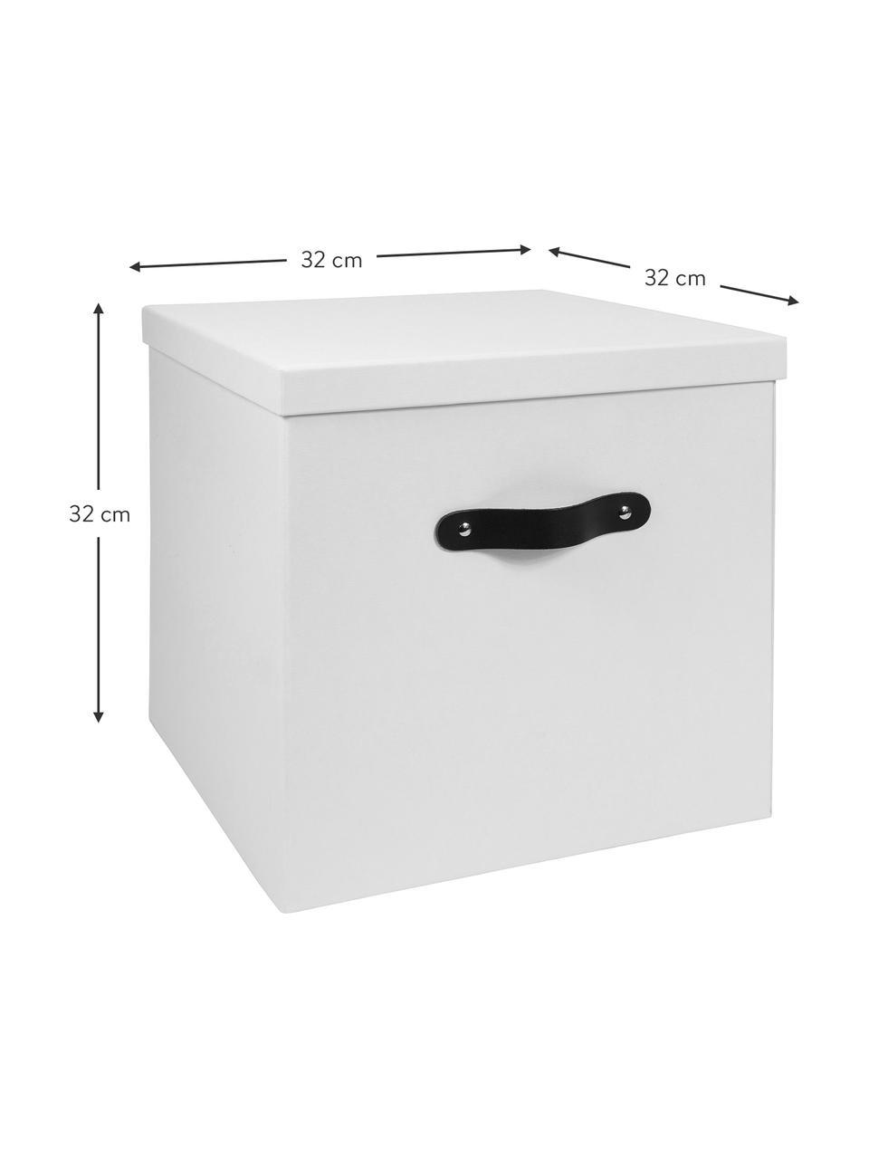 Scatola con coperchio Texas, Scatola: solido, cartone laminato, Manico: pelle, Bianco, Larg. 32 x Alt. 32 cm