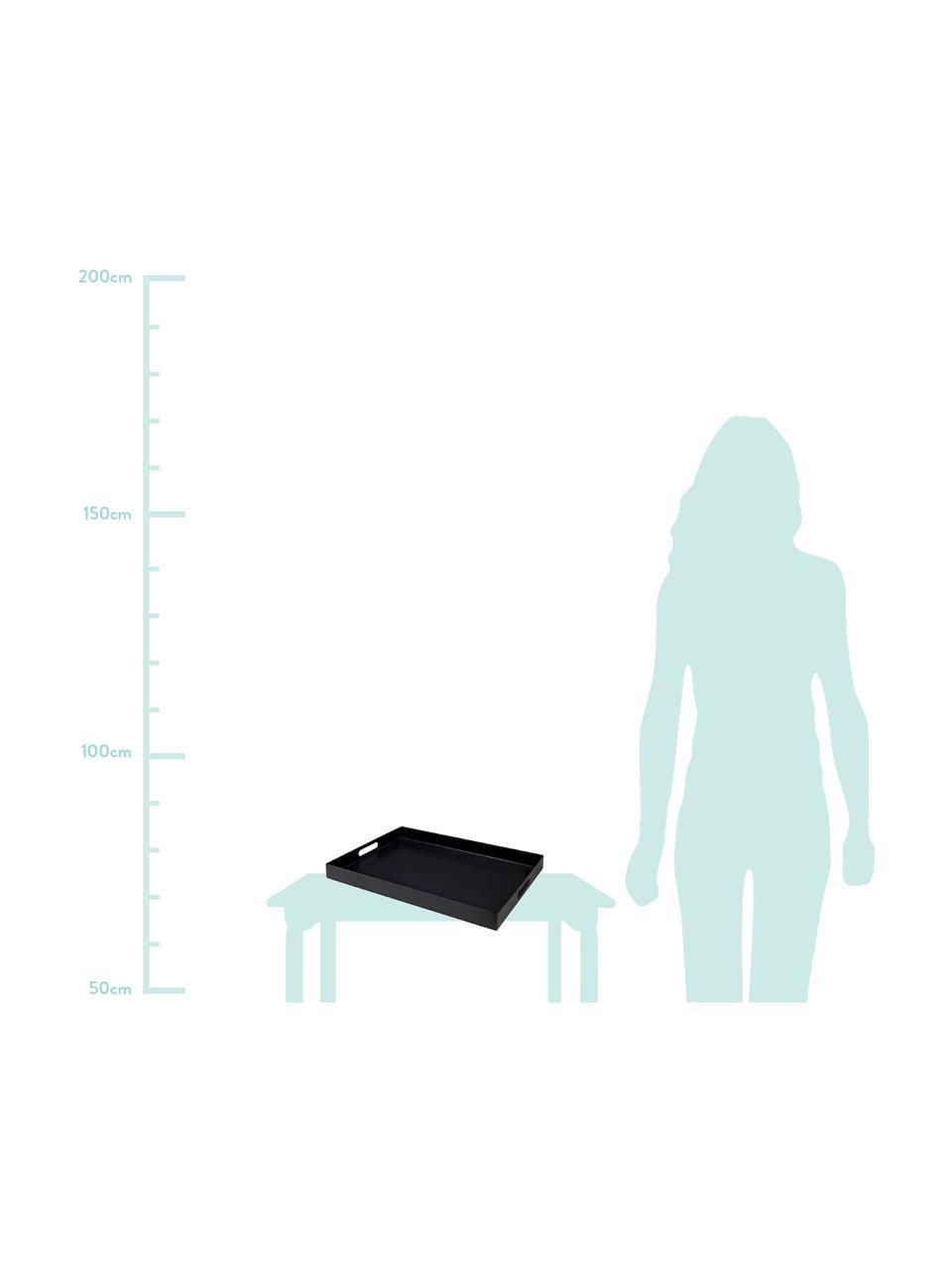 Serviertablett Satu in Schwarz, L 40 x B 30 cm, Metall, lackiert, Schwarz, 30 x 40 cm