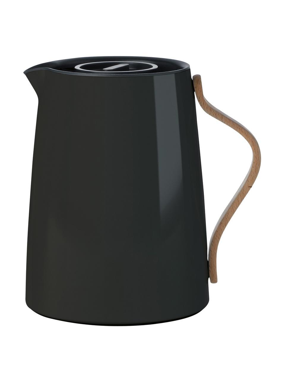 Teiera color nero lucido Emma, 1 L, Rivestimento: smalto, Manico: legno di faggio, Nero, 1 L