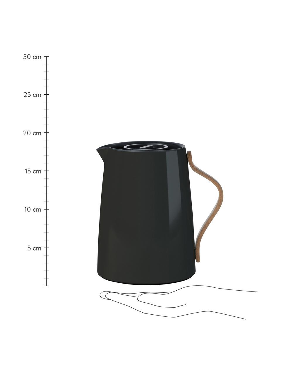 Teezubereiter Emma in Schwarz glänzend, 1 L, Korpus: Stahl, Beschichtung: Emaille, Griff: Buchenholz, Schwarz, 1 L