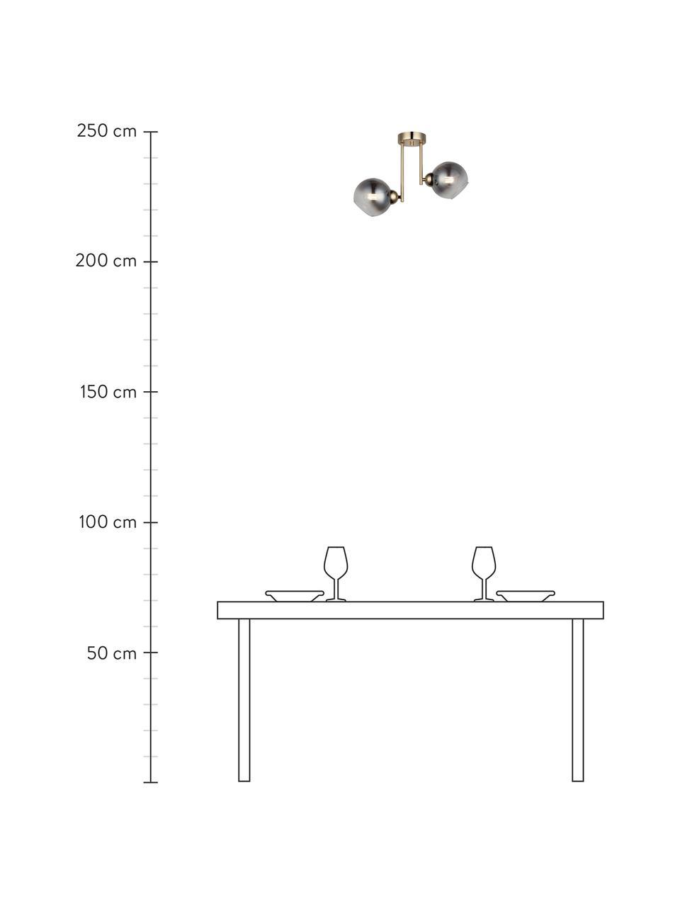 Deckenleuchte Bera aus verspiegeltem Glas, Baldachin: Metall, gebürstet, Goldfarben, Grau, 46 x 33 cm