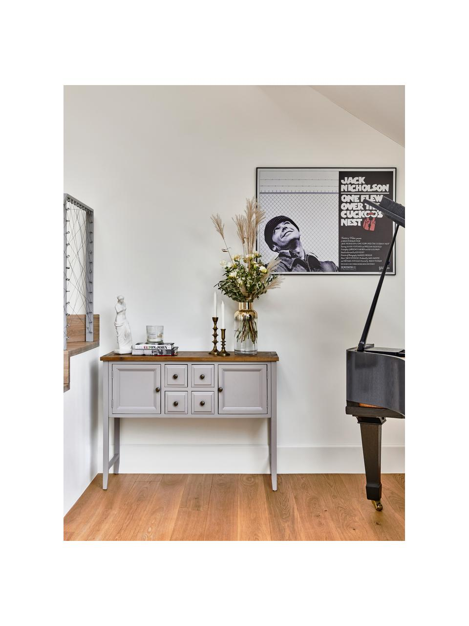 Grijs dressoir Amy in landelijke stijl, Frame: gelakt olmenhout, Lichtgrijs, 116 x 86 cm