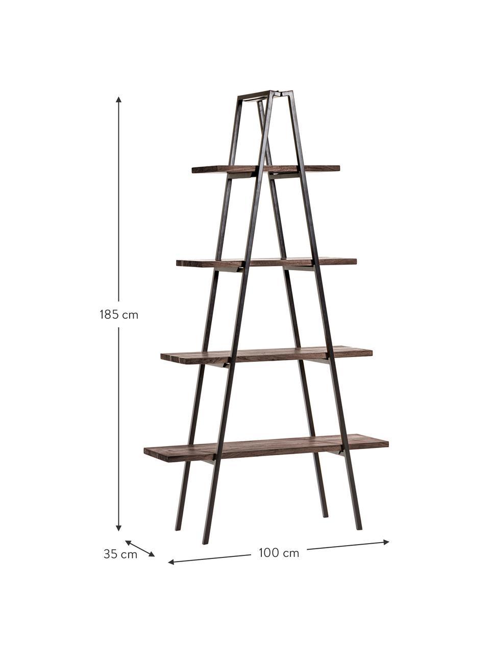 Regał industrial Delaia, Drewno, metal, Ciemnybrązowy, czarny, S 100 x D 185 cm