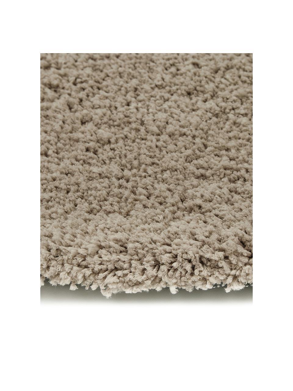 Tappeto peloso rotondo beige Leighton, Retro: 70% poliestere, 30% coton, Beige-marrone, Ø 200 cm (taglia L)