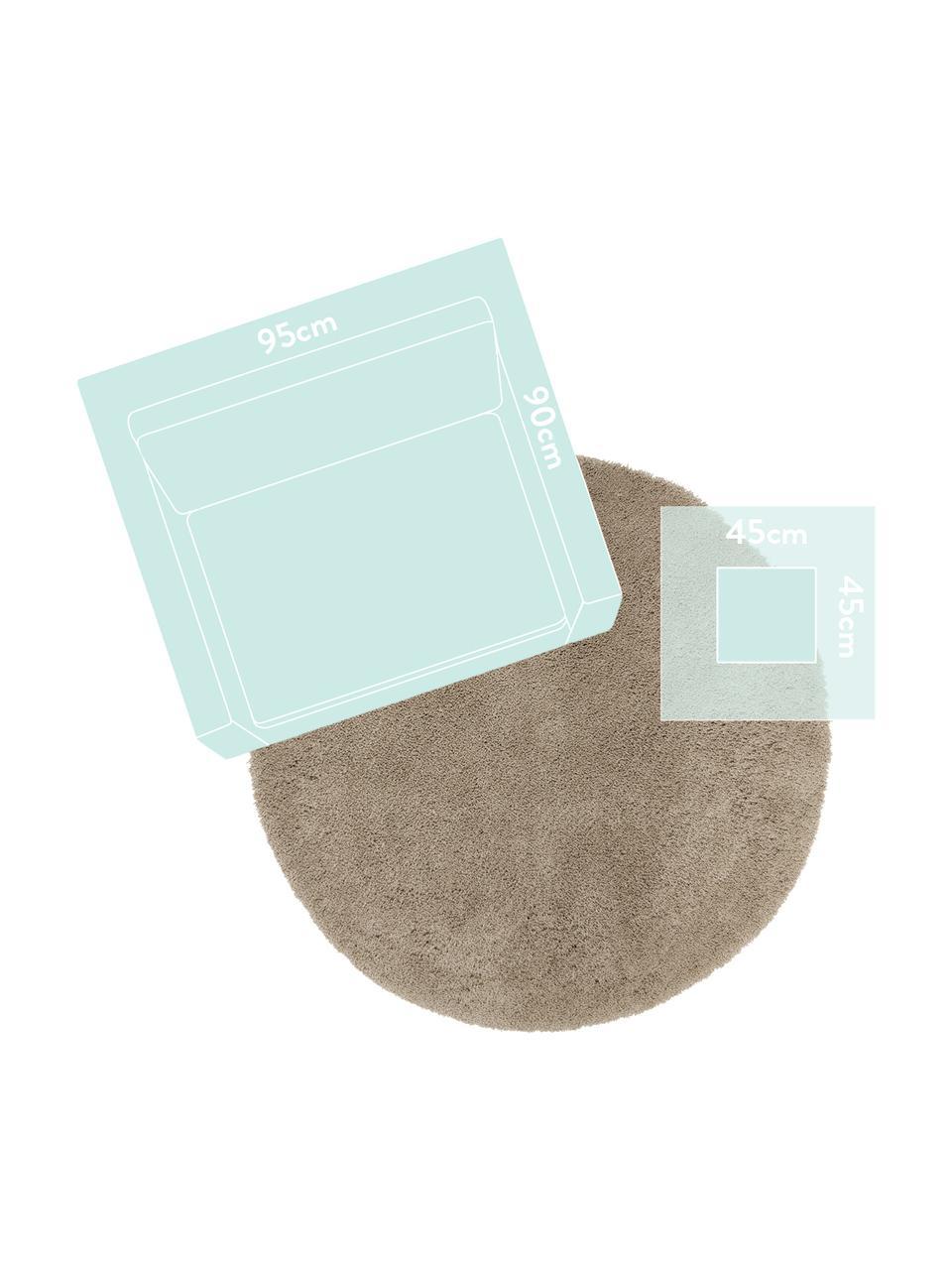 Flauschiger runder Hochflor-Teppich Leighton in Beige, Flor: Mikrofaser (100% Polyeste, Beige-Braun, Ø 200 cm (Größe L)