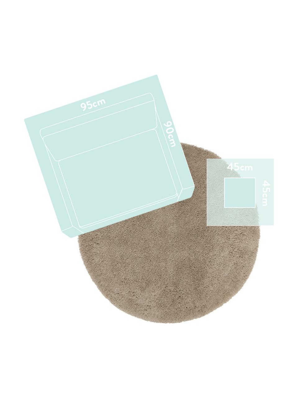 Pluizig rond hoogpolig vloerkleed Leighton in beige, Bovenzijde: 100% polyester (microveze, Onderzijde: 70% polyester, 30% katoen, Beige-bruin, Ø 200 cm (maat L)