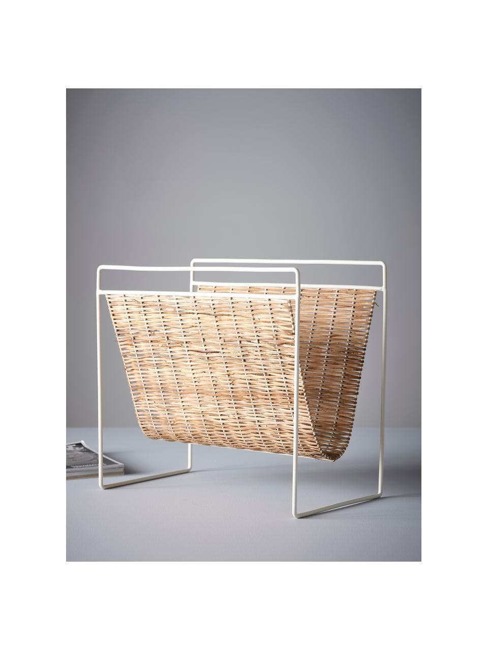 Zeitschriftenhalter Drake, Ablage: Rattan, Gestell: Metall, beschichtet, Beige, Weiß, 45 x 41 cm