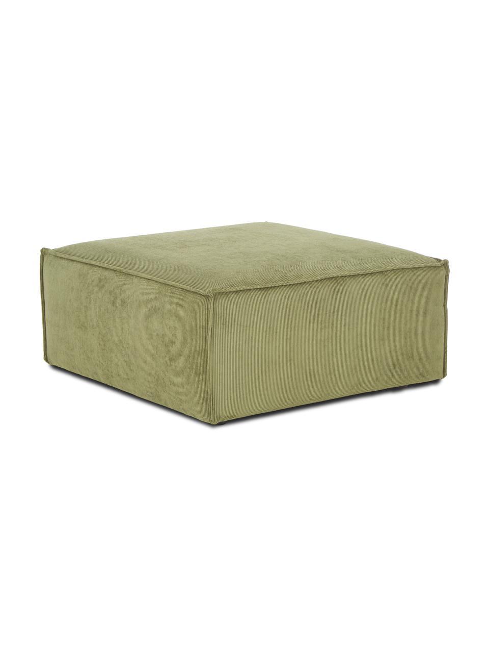 Poggiapiedi da divano in velluto a coste verde Lennon, Rivestimento: velluto a coste (92% poli, Struttura: legno di pino massiccio, , Piedini: plastica I piedini si tro, Velluto a coste verde, Larg. 88 x Alt. 43 cm