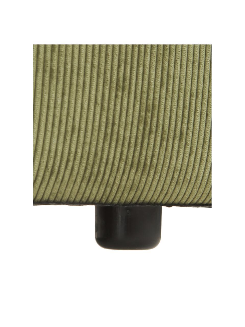Sofa-Hocker Lennon in Grün aus Cord, Bezug: Cord (92% Polyester, 8% P, Gestell: Massives Kiefernholz, Spe, Füße: Kunststoff Die Füße befin, Cord Grün, 88 x 43 cm