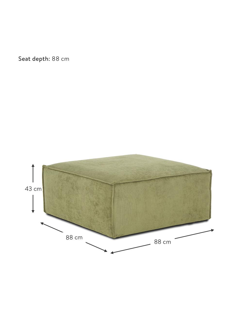 Voetenbank Lennon in groen van corduroy, Bekleding: corduroy (92% polyester, , Frame: massief grenenhout, multi, Poten: kunststof De poten bevind, Corduroy groen, 88 x 43 cm