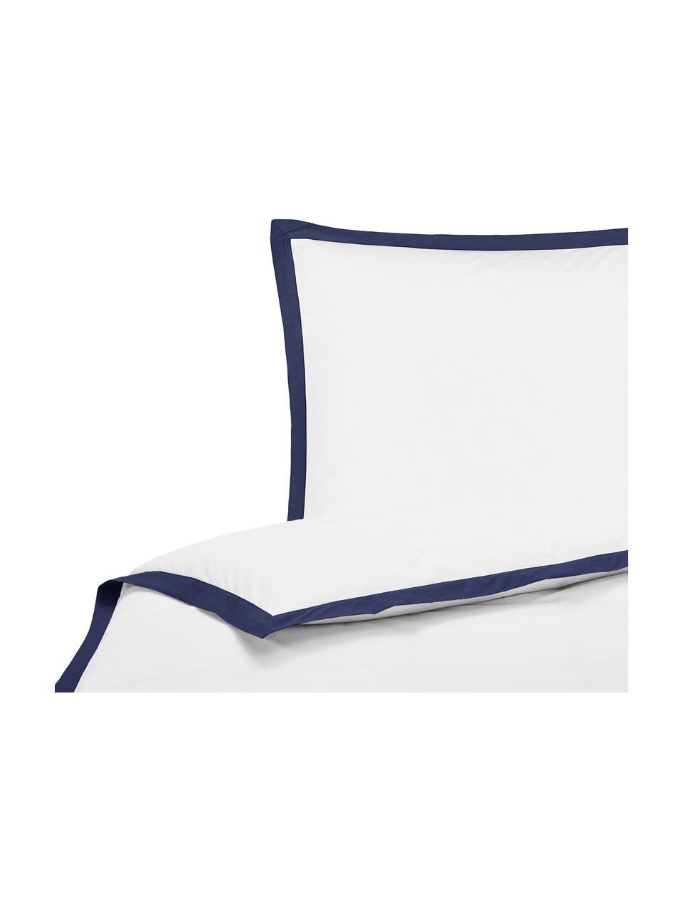 Pościel z perkalu z lamówką Joanna, Biały, ciemny niebieski, 135 x 200 cm
