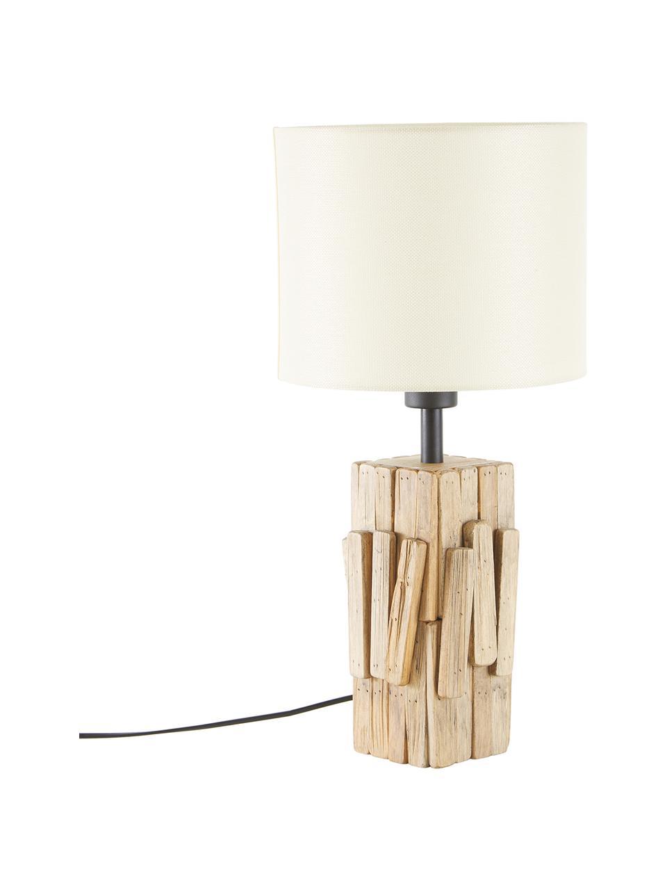 Große Tischlampe Portishead mit Holzfuß, Lampenschirm: Leinen, Lampenfuß: Holz, Braun, Weiß, Ø 26 x H 54 cm