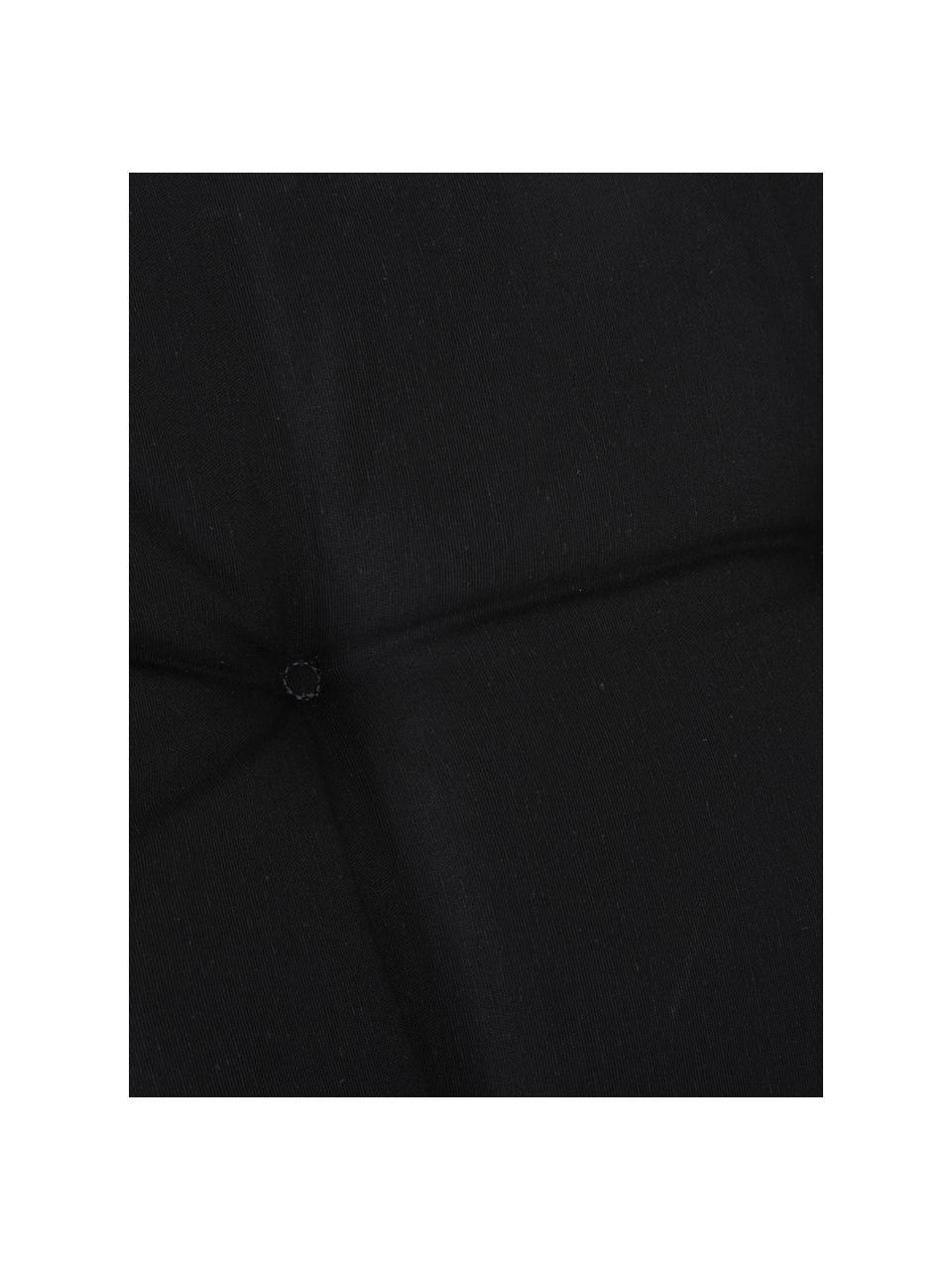 Einfarbige Hochlehner-Stuhlauflage Panama in Schwarz, Bezug: 50% Baumwolle, 50%Polyes, Schwarz, 50 x 123 cm