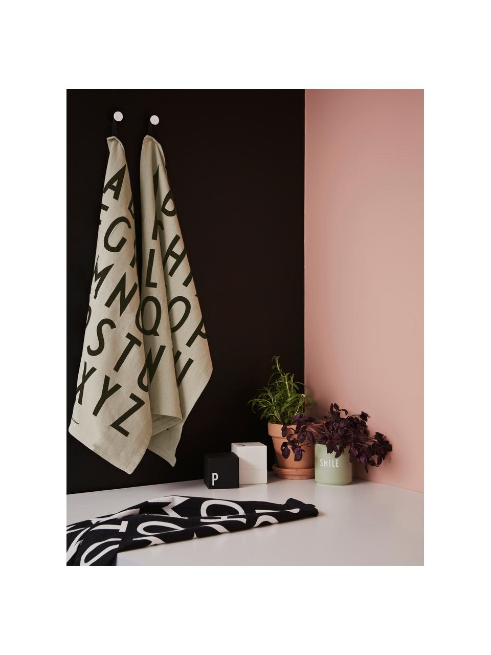 Strofinaccio in cotone beige con lettere Classic 2 pz, 100% cotone, Beige, nero, Larg. 40 x Lung. 60 cm
