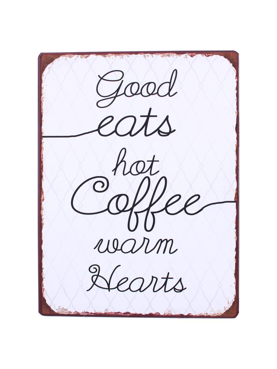 Wandschild Good eats, hot coffee, warm hearts, Metall, beschichtet, Weiß, Schwarz, Braun, 27 x 35 cm