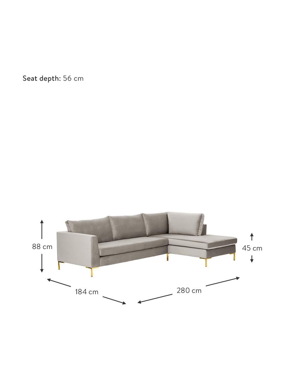 Sofa narożna z aksamitu z metalowymi nogami Luna, Tapicerka: aksamit (poliester) Dzięk, Nogi: metal galwanizowany, Aksamitny beżowy, złoty, S 280 x G 184 cm