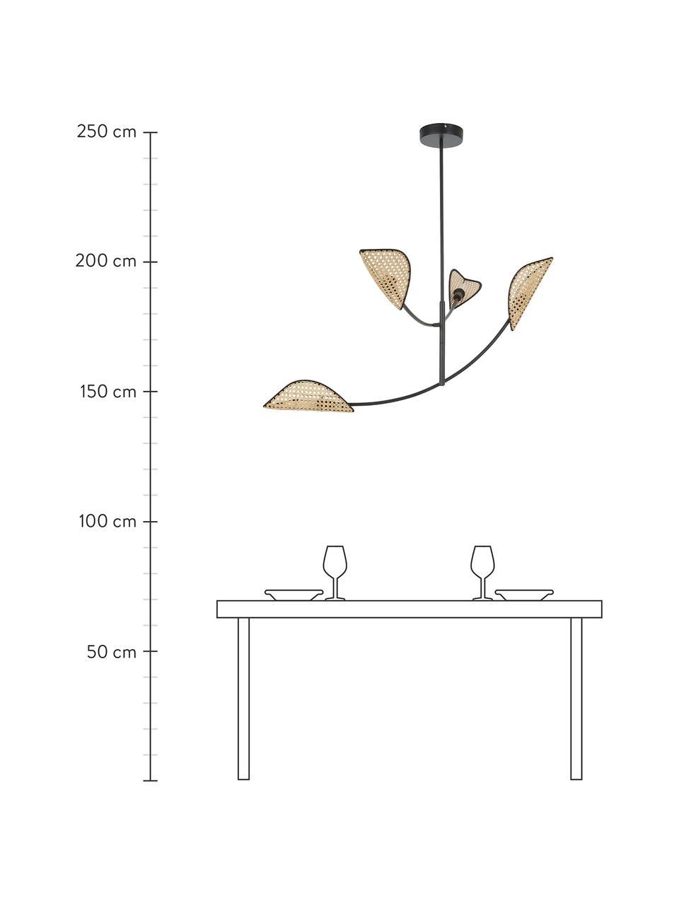 Große Pendelleuchte Freja aus Wiener Geflecht, Baldachin: Metall, pulverbeschichtet, Schwarz, 112 x 89 cm