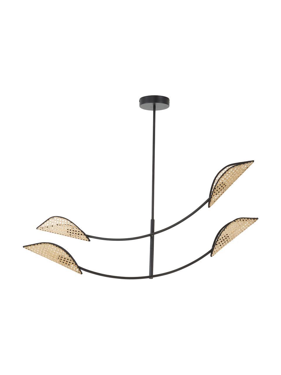Grote hanglamp Freja van Weens vlechtwerk, Baldakijn: gepoedercoat metaal, Zwart, 112 x 89 cm