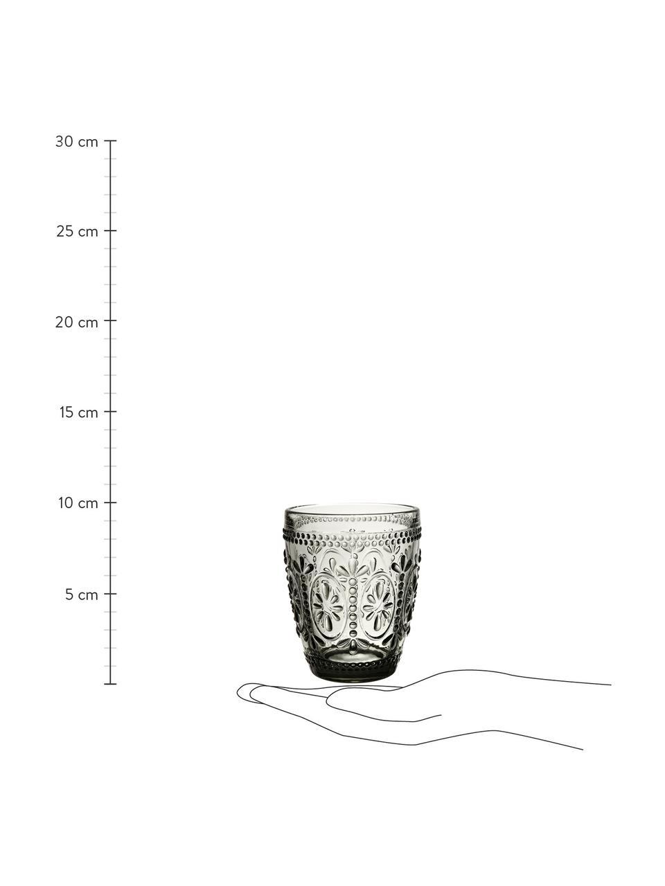 Waterglazen Chambord, 6 stuks, Glas, Grijs, Ø 8 x H 10 cm