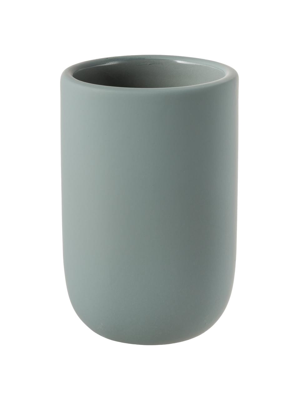 Keramik-Zahnputzbecher Lotus, Keramik, Grün, Ø 7 x H 10 cm