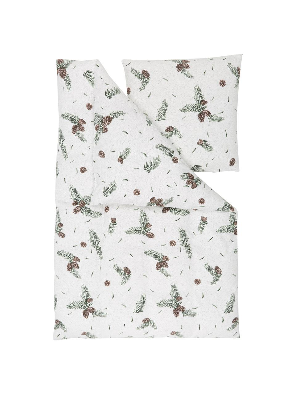 Flanell-Bettwäsche Pinecone mit winterlichem Muster, Webart: Flanell, Weiß, Grün, 135 x 200 cm