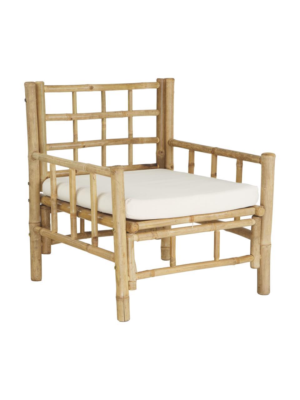 Fotel z drewna bambusowego z tapicerowanym siedziskiem Mandisa, Stelaż: drewno bambusowe, surowe, Drewno bambusowe, biały, S 70 x G 70 cm
