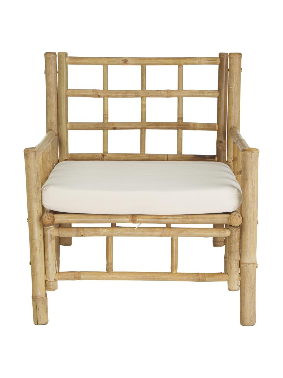 Fauteuil en bambou assise rembourrée Mandisa, Bambou, blanc