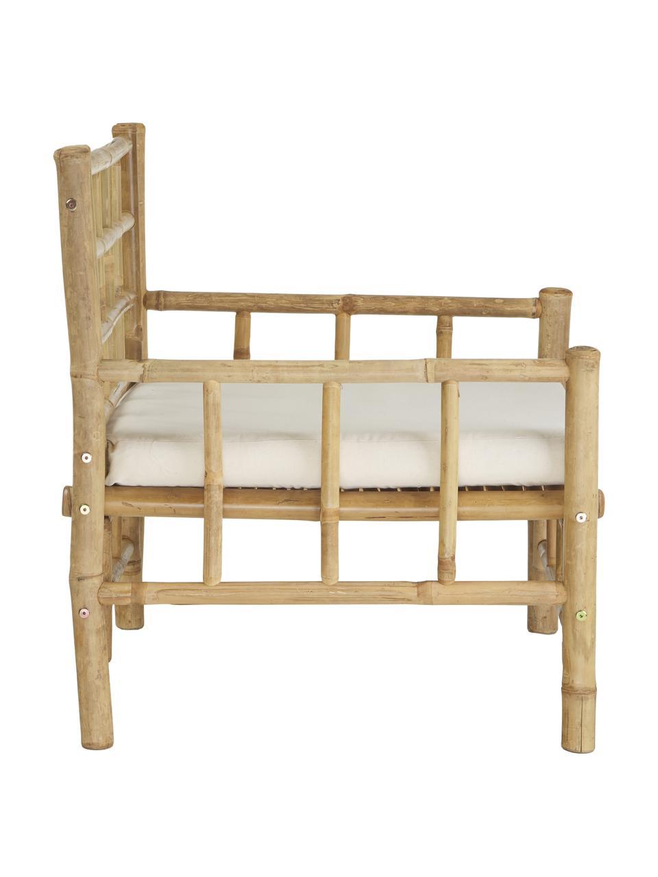 Poltrona da esterno in bambù Mandisa, Struttura: legno di bambù, non tratt, Rivestimento: tela, Legno di bambù, bianco, Larg. 70 x Prof. 70 cm