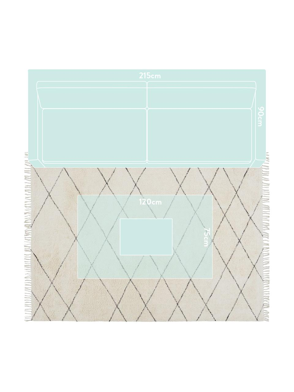 Baumwollteppich Less mit Rautenmuster, 100% Baumwolle, Gebrochenes Weiß, Schwarz, B 200 x L 300 cm (Größe L)