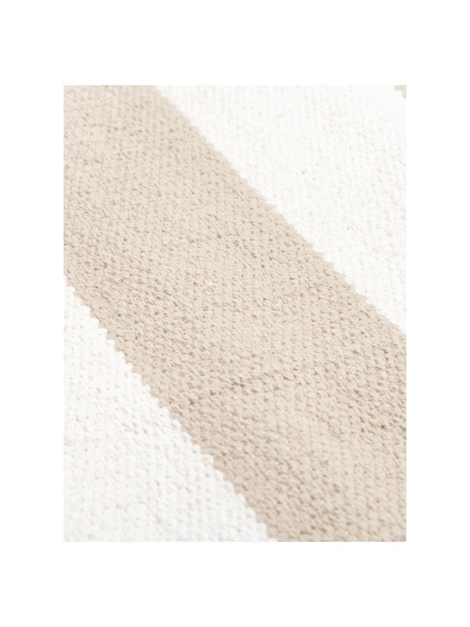 Gestreifter Baumwollteppich Blocker in Taupe/Weiß, handgewebt, 100% Baumwolle, Beige, B 200 x L 300 cm (Größe L)