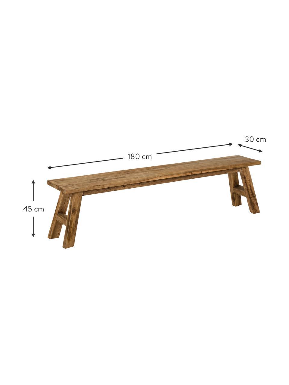 Panchina in legno di teak riciclato Lawas, Legno di teak, finitura naturale, Legno di teak, Larg. 180 x Alt. 45 cm