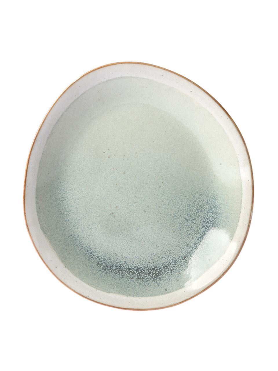 Handgemachte Frühstücksteller 70's im Retro Style, 2 Stück, Steingut, Grün, Creme, Ø 22 cm