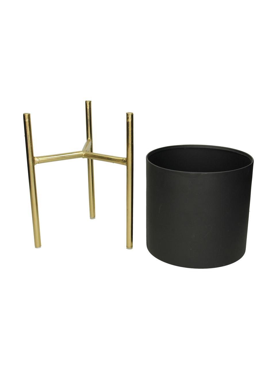 Set 3 portavasi rotondi in metallo Blako, Metallo rivestito, Nero, dorato, Set in varie misure
